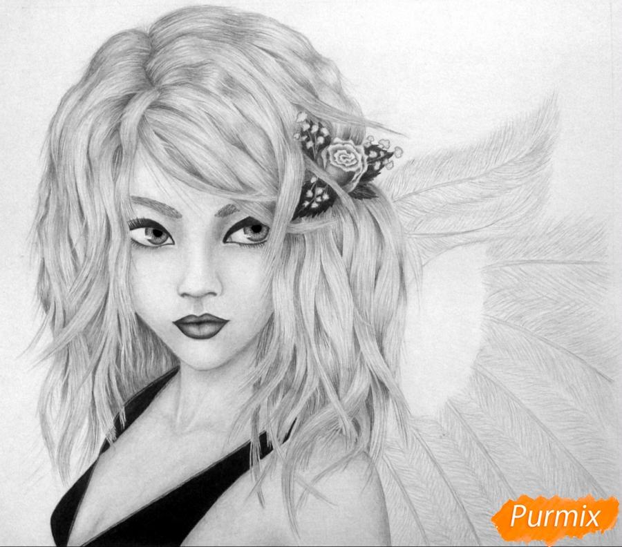 Рисуем аниме девушку ангела карандашами - шаг 9