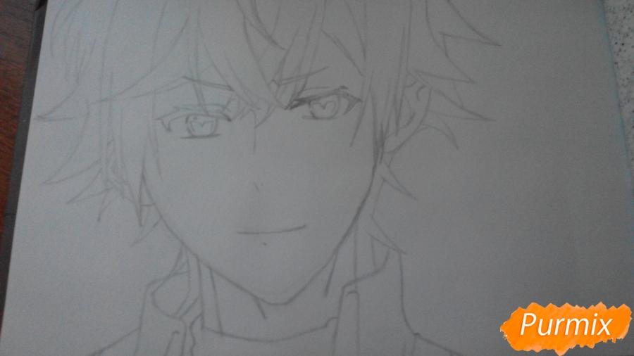 Рисуем портрет Аято Сакамаки - фото 3
