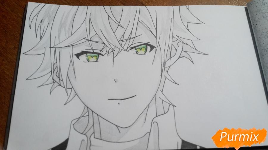 Рисуем портрет Аято Сакамаки - фото 6