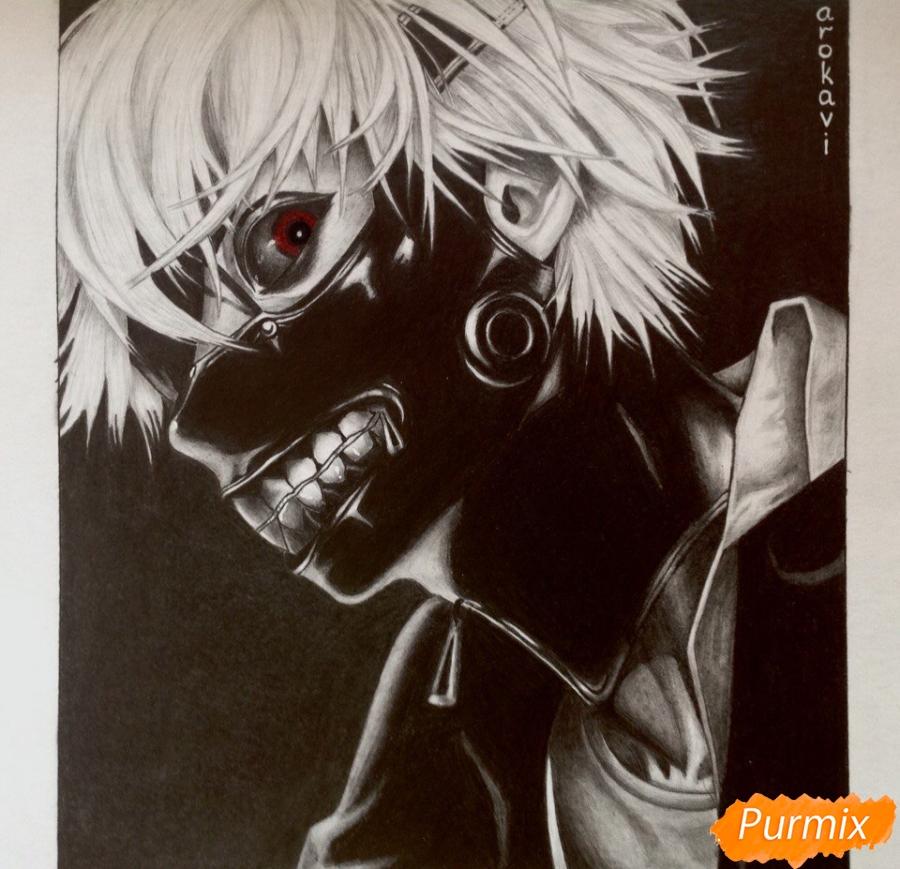 Как нарисовать портрет Канеки Кена из Токийский гуль карандашом поэтапно