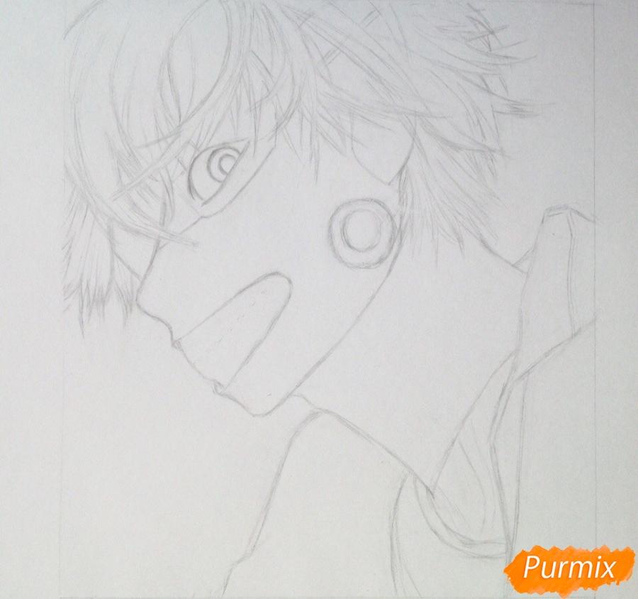 Рисуем портрет Канеки Кена из Токийский гуль - шаг 2