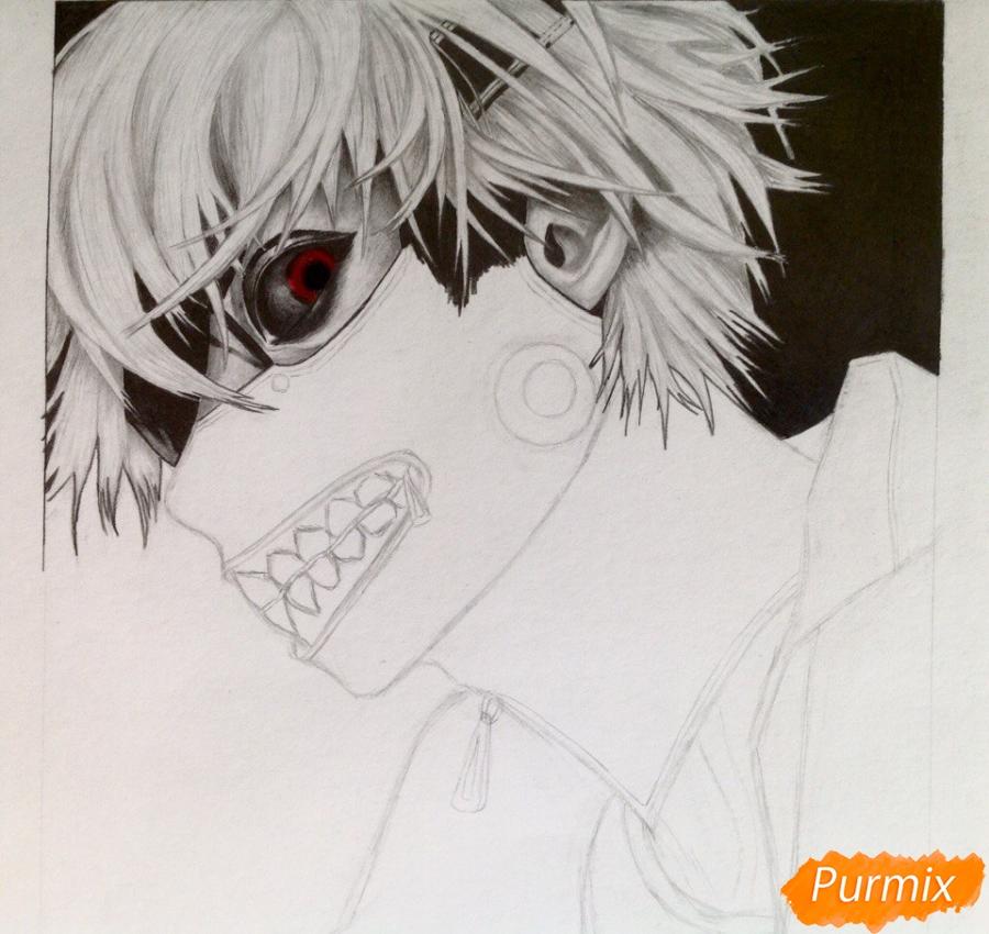 Рисуем портрет Канеки Кена из Токийский гуль - шаг 6