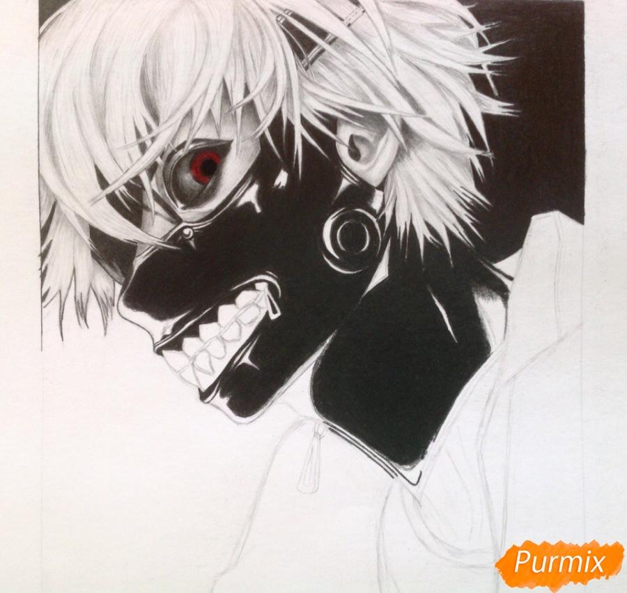 Рисуем портрет Канеки Кена из Токийский гуль - шаг 7