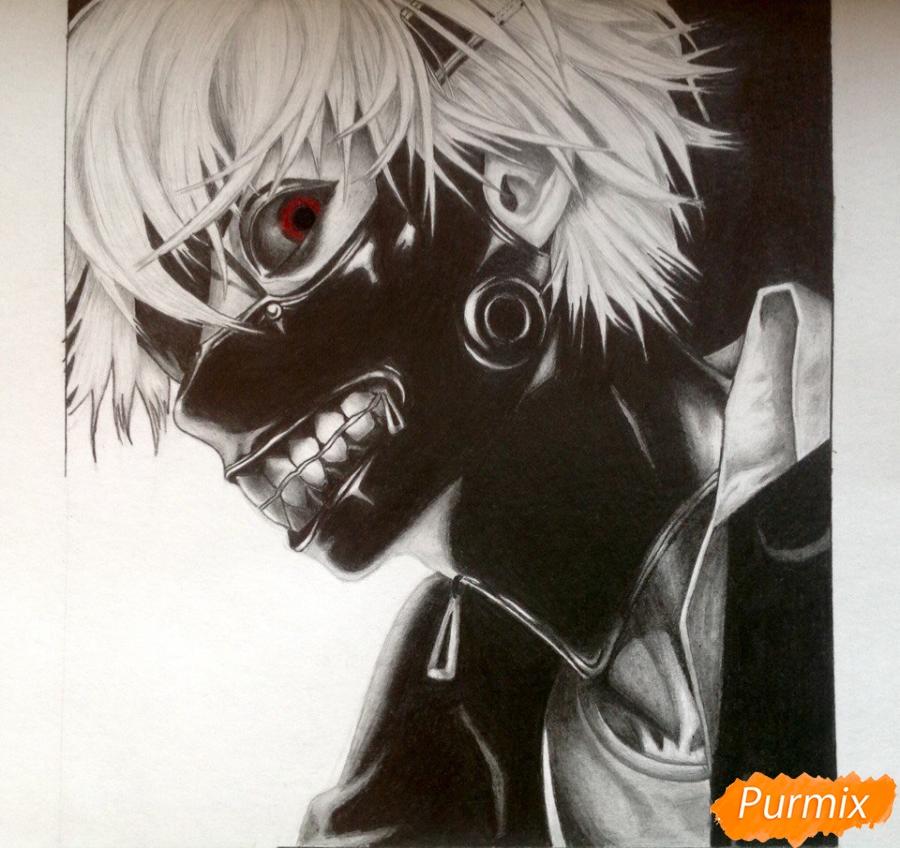 Рисуем портрет Канеки Кена из Токийский гуль - шаг 9