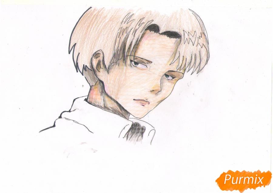 Рисуем портрет Леви Капрала цветными карандашами - фото 7
