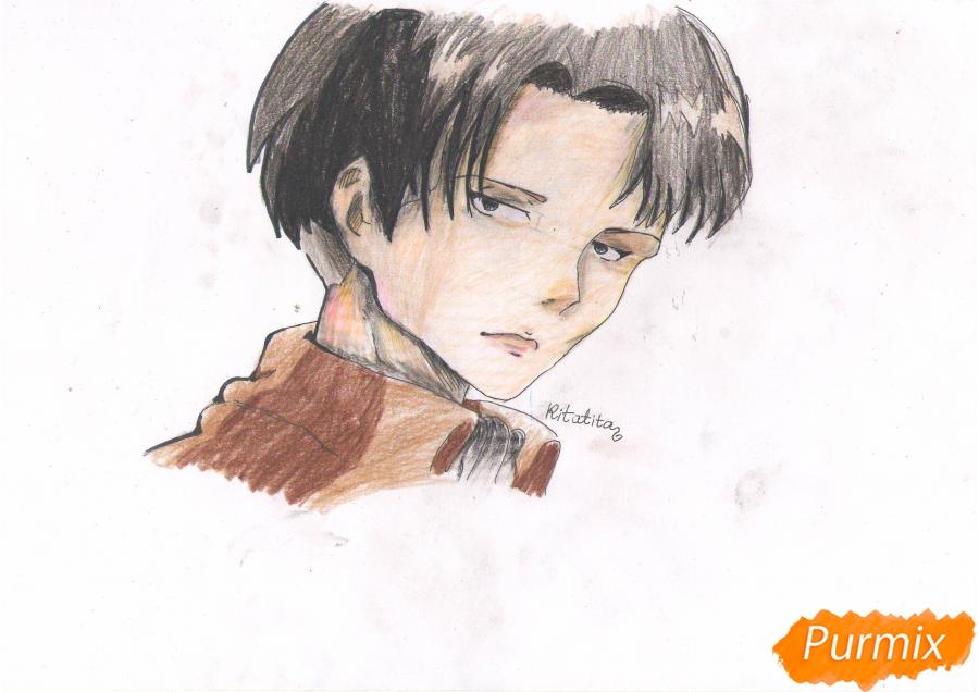 Рисуем портрет Леви Капрала цветными карандашами - фото 9
