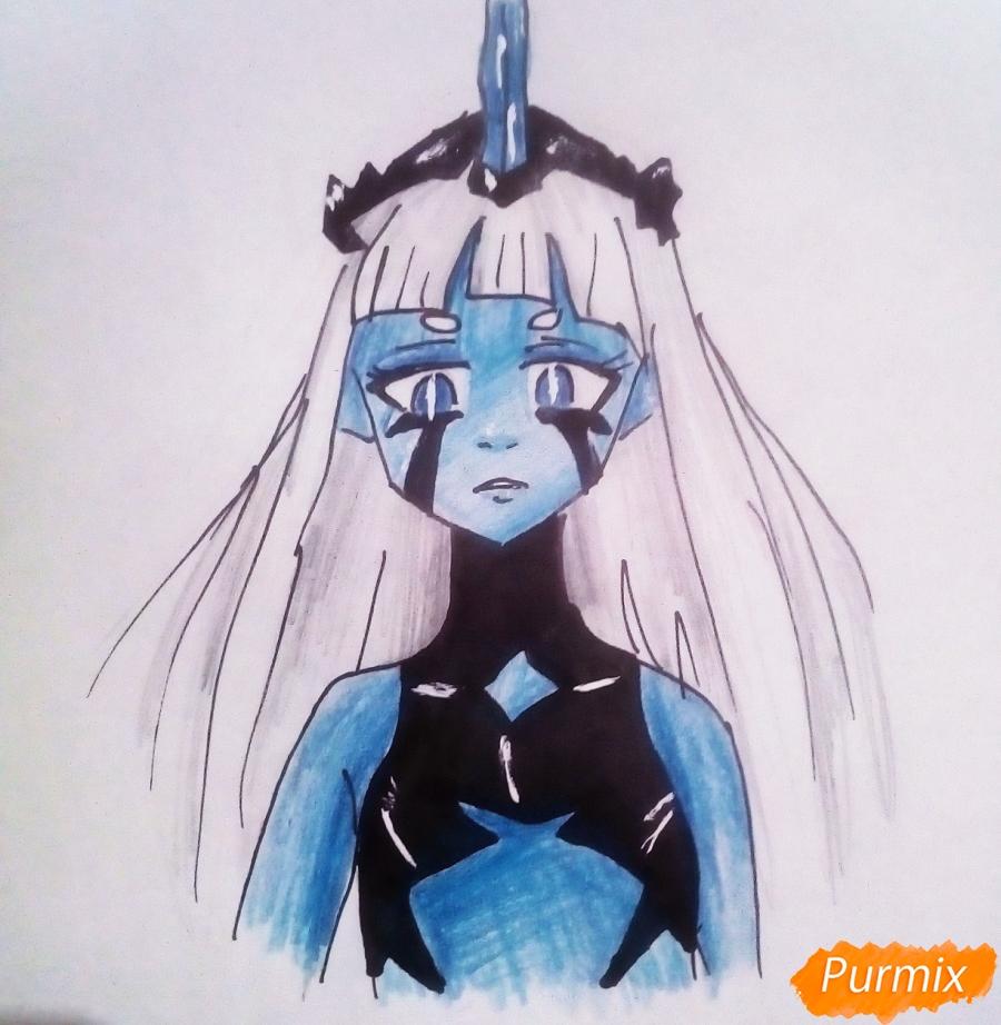 Как нарисовать принцессу Ревозавров из аниме Милый Во Франксе карандашами поэтапно