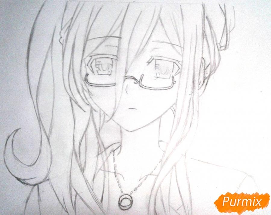 Рисуем Рейне Мурасаме из аниме Рандеву с жизнью карандашами - шаг 6