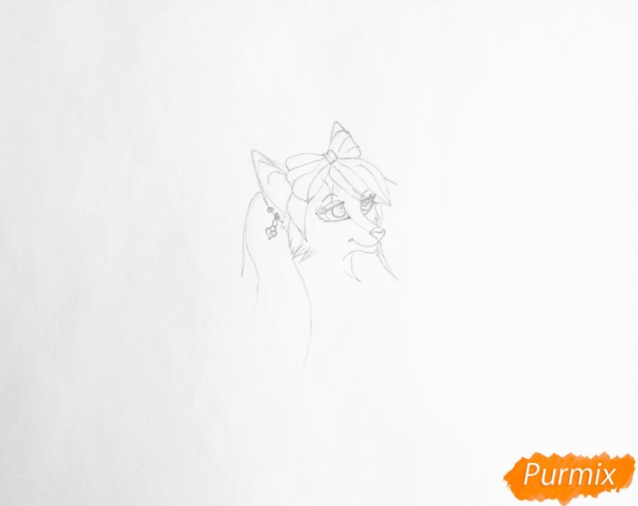 Рисуем розовую аниме волчицу с бантиками - шаг 2