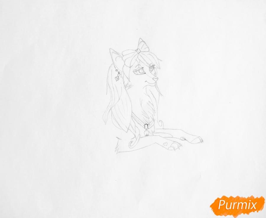 Рисуем розовую аниме волчицу с бантиками - шаг 3