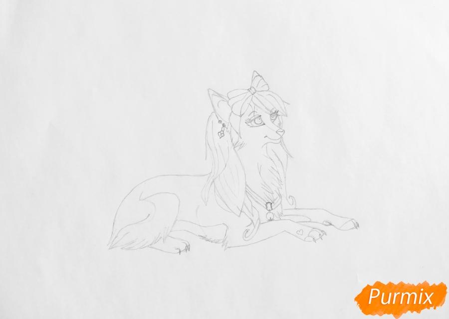 Рисуем розовую аниме волчицу с бантиками - шаг 4