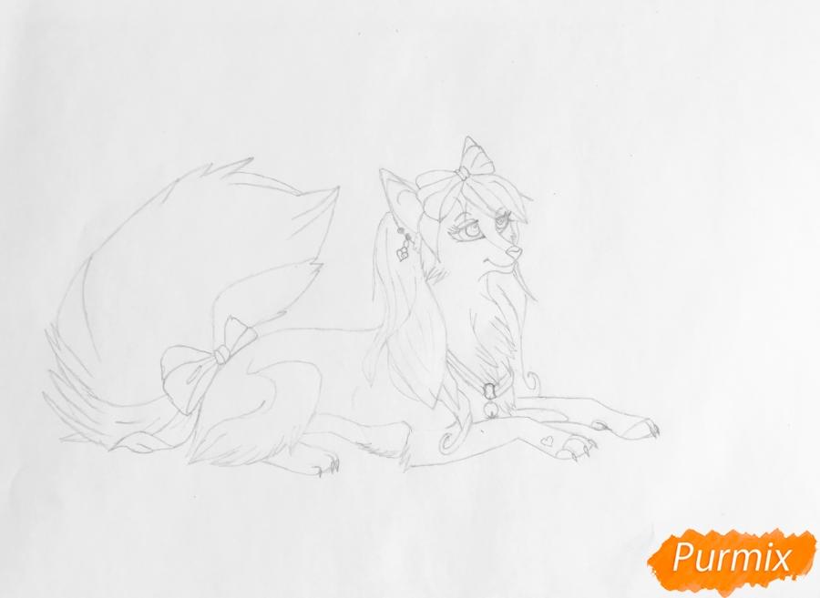 Рисуем розовую аниме волчицу с бантиками - шаг 5
