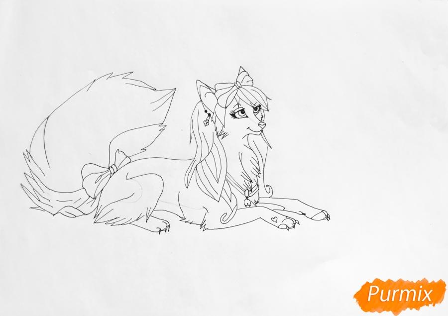 Рисуем розовую аниме волчицу с бантиками - шаг 6