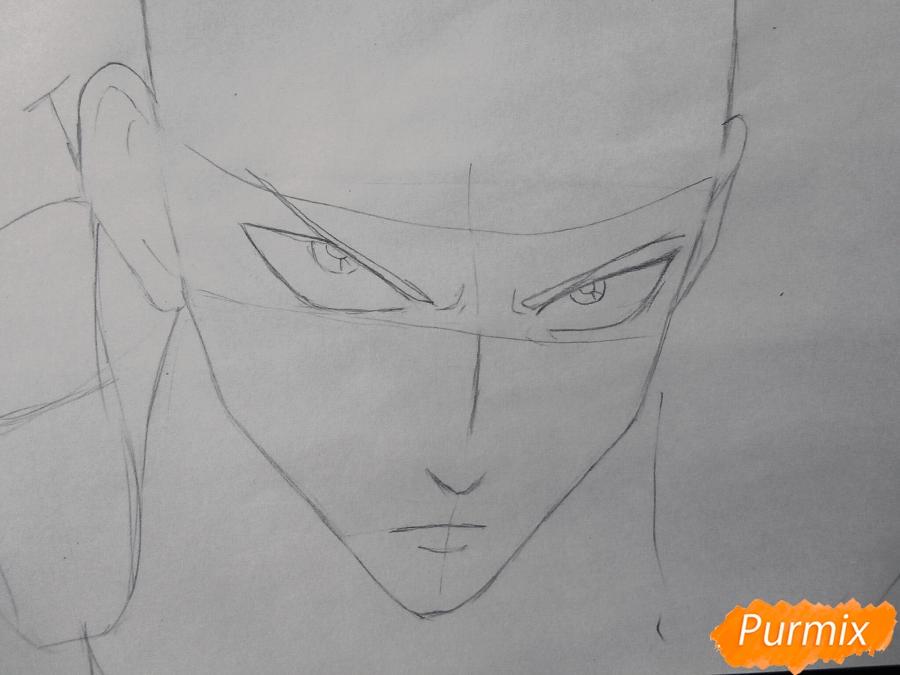 Рисуем Сайтаму главного героя манги/аниме Ванпачмен - шаг 2