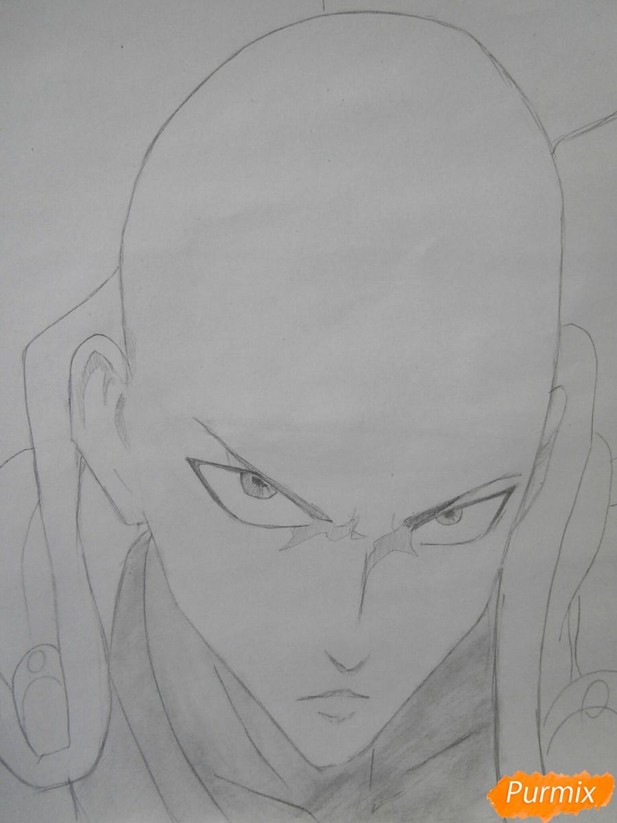 Рисуем Сайтаму главного героя манги/аниме Ванпачмен - шаг 6