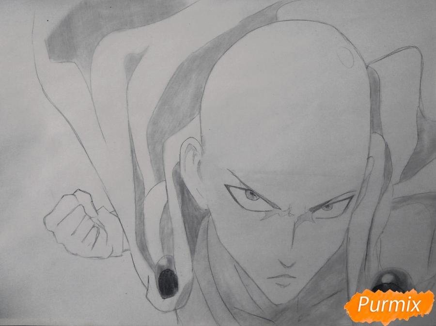 Рисуем Сайтаму главного героя манги/аниме Ванпачмен - шаг 7