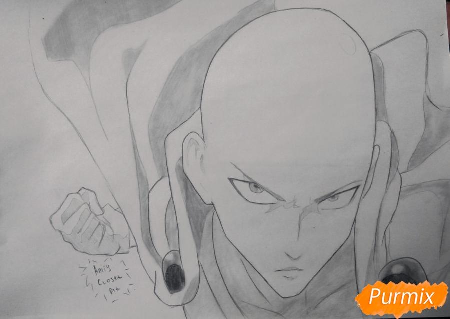 Как нарисовать Сайтаму главного героя манги/аниме Ванпачмен карандашом поэтапно