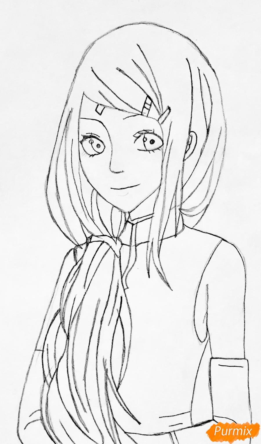 Рисуем Сакуру из Наруто цветными карандашами - фото 5