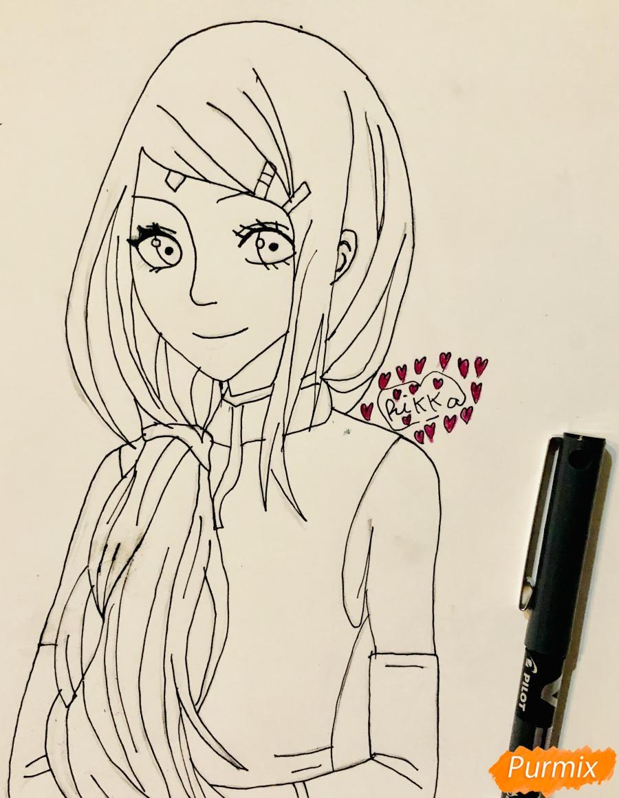 Рисуем Сакуру из Наруто цветными карандашами - фото 6