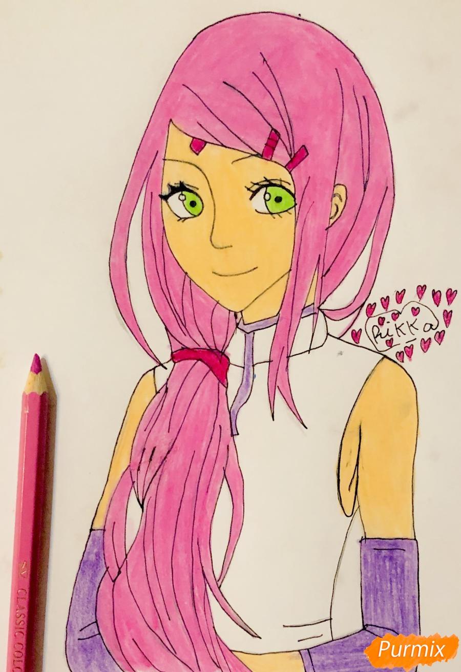 Рисуем Сакуру из Наруто цветными карандашами - фото 9
