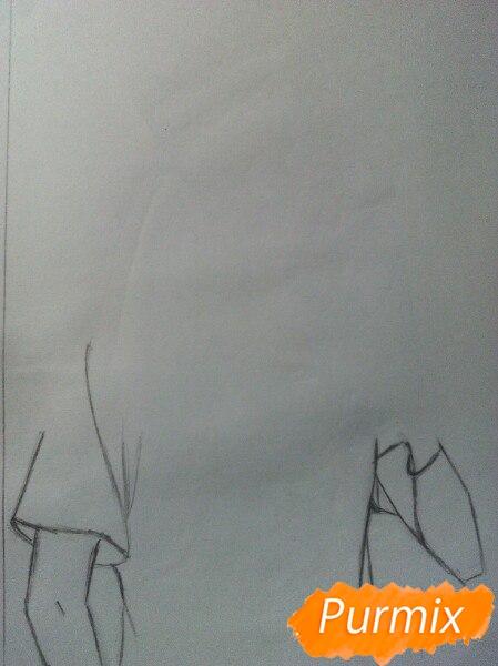 Рисуем Саскэ Утиха из аниме Наруто карандашами - шаг 1