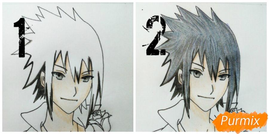 Рисуем Саскэ Утиха из аниме Наруто карандашами - фото 12
