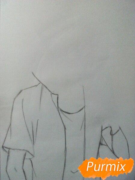 Рисуем Саскэ Утиха из аниме Наруто карандашами - шаг 2