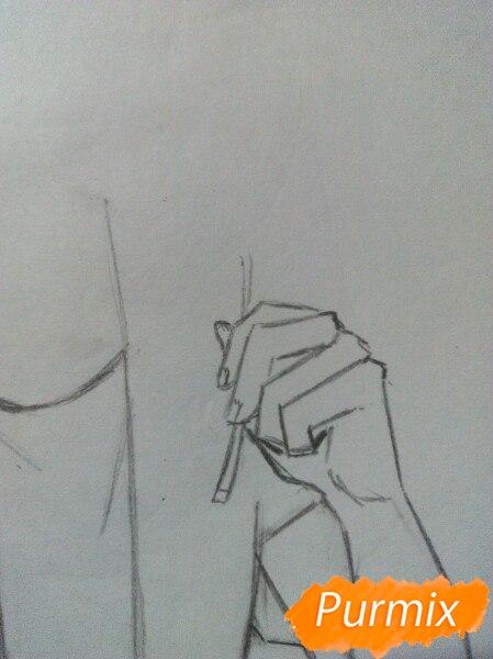 Рисуем Саскэ Утиха из аниме Наруто карандашами - шаг 3