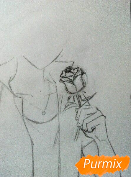 Рисуем Саскэ Утиха из аниме Наруто карандашами - шаг 5