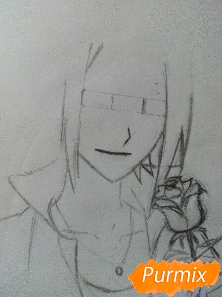 Рисуем Саскэ Утиха из аниме Наруто карандашами - шаг 6
