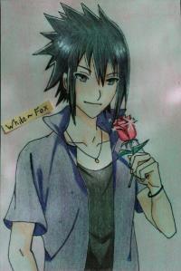 Рисунок Саске Учиха из Наруто цветными