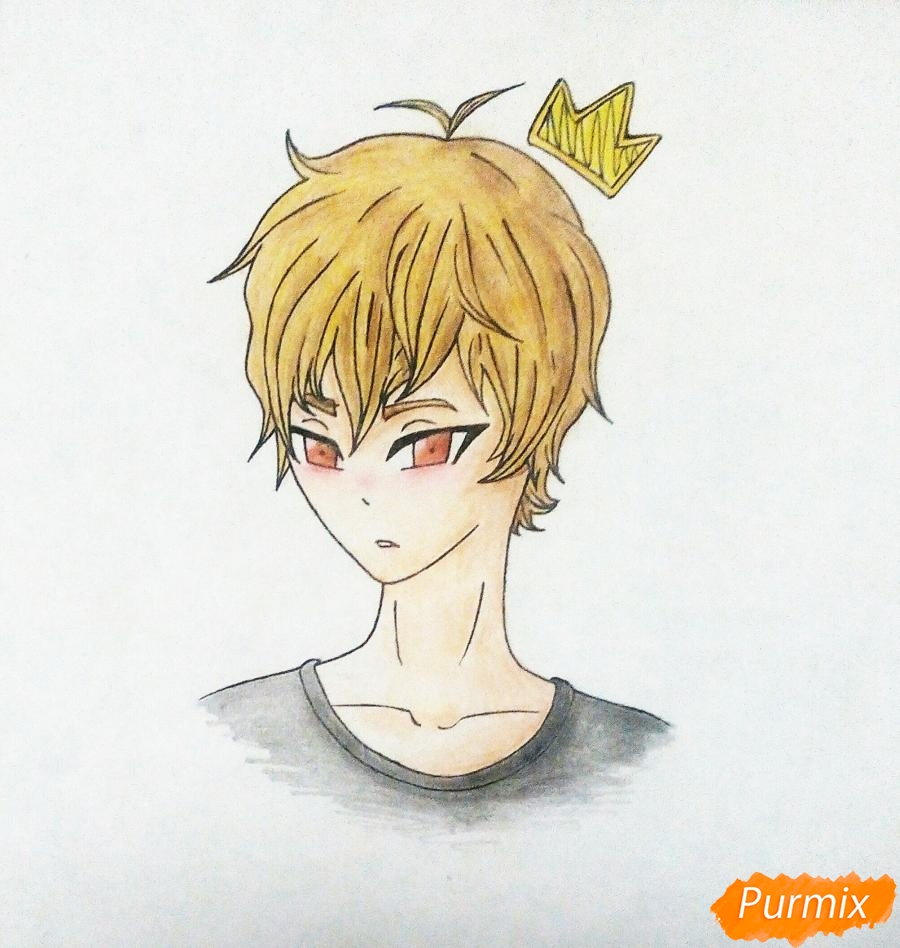 Рисуем Сато Кёя из аниме Волчица и чёрный принц карандашами - фото 10