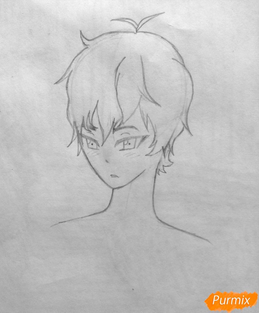 Рисуем Сато Кёя из аниме Волчица и чёрный принц карандашами - фото 5