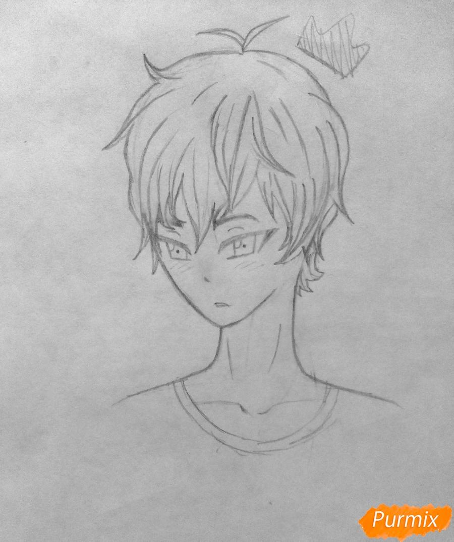 Рисуем Сато Кёя из аниме Волчица и чёрный принц карандашами - фото 7