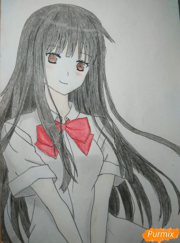 Как нарисовать Савако Куронума из аниме Дотянутья до тебя поэтапно