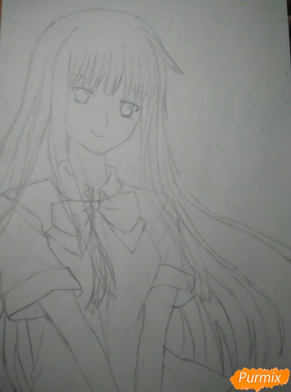 Рисуем Савако Куронума из аниме Дотянутья до тебя - шаг 6