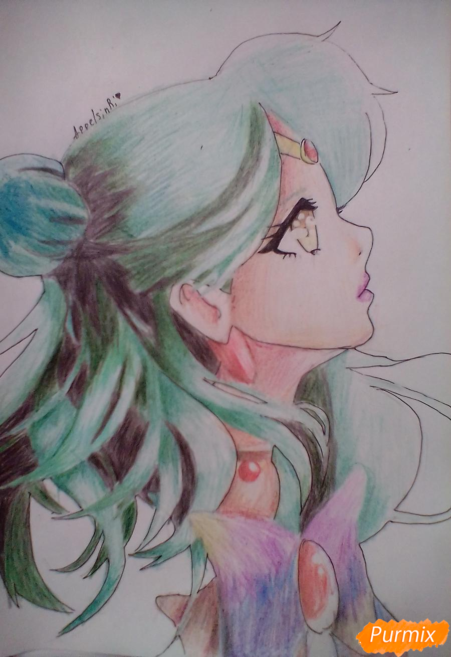 Как нарисовать Сейлор Плутон (Сэцуна Мэйо) из аниме Сейлор Мун карандашом поэтапно