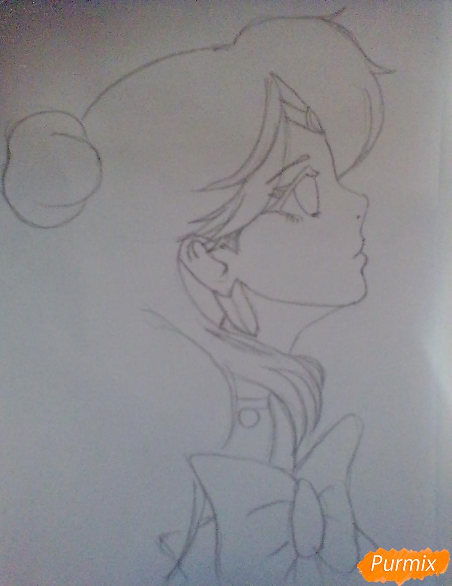 Рисуем Сейлор Плутон (Сэцуна Мэйо) из аниме Сейлор Мун - шаг 4