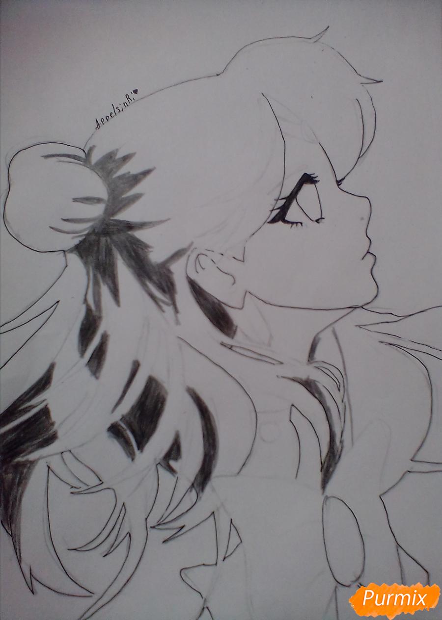Рисуем Сейлор Плутон (Сэцуна Мэйо) из аниме Сейлор Мун - шаг 7