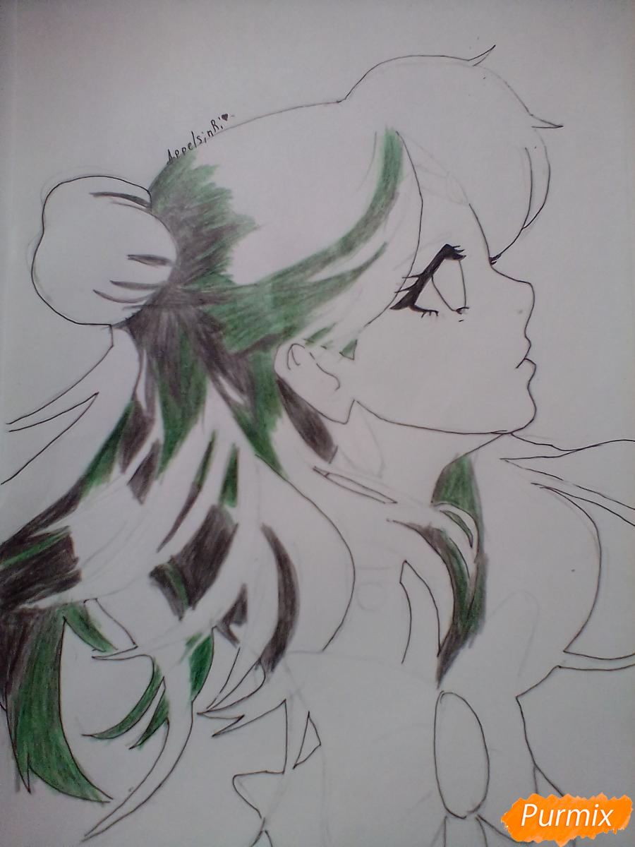 Рисуем Сейлор Плутон (Сэцуна Мэйо) из аниме Сейлор Мун - шаг 8