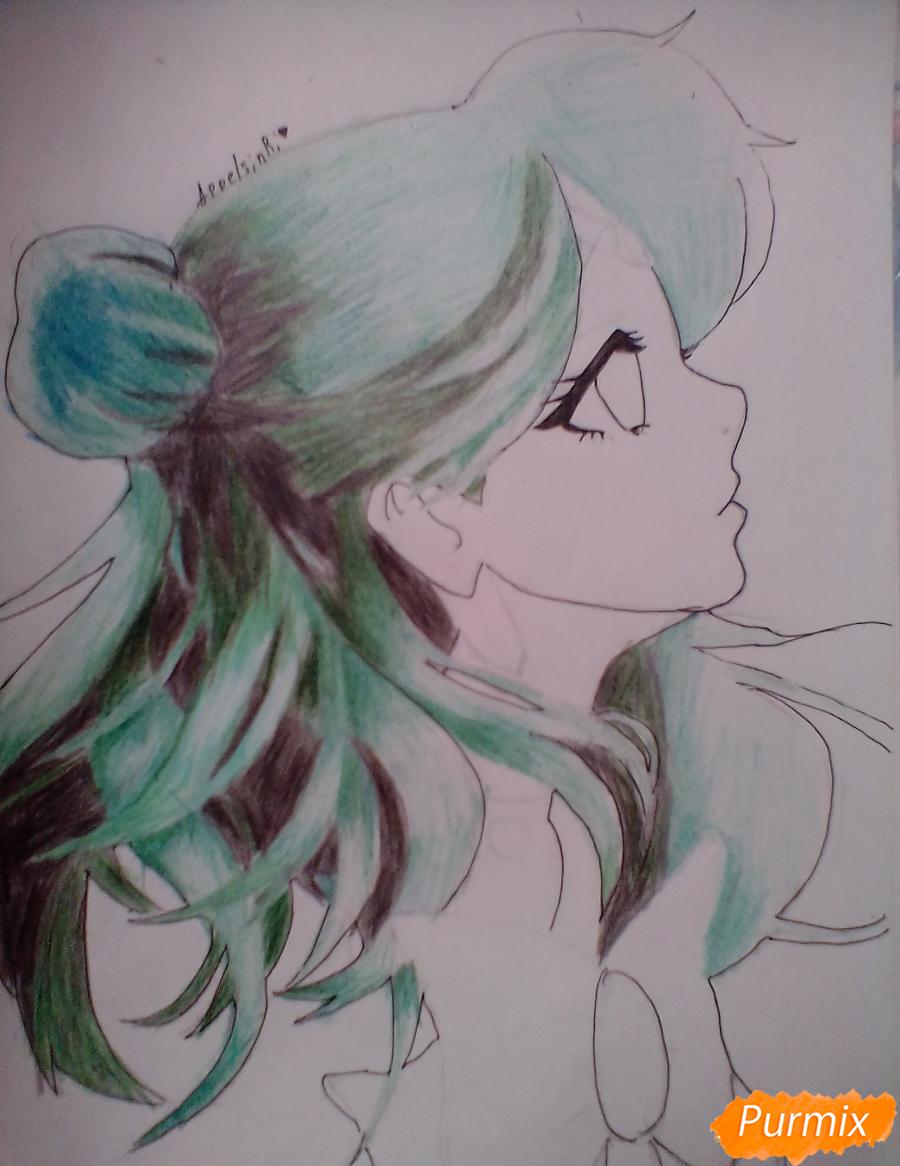 Рисуем Сейлор Плутон (Сэцуна Мэйо) из аниме Сейлор Мун - шаг 9