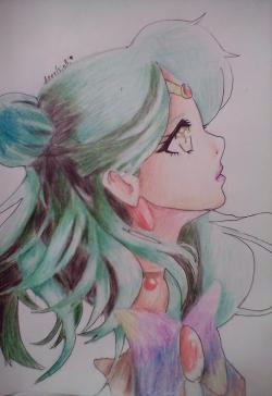 Рисунок Сейлор Плутон (Сэцуна Мэйо) из аниме Сейлор Мун