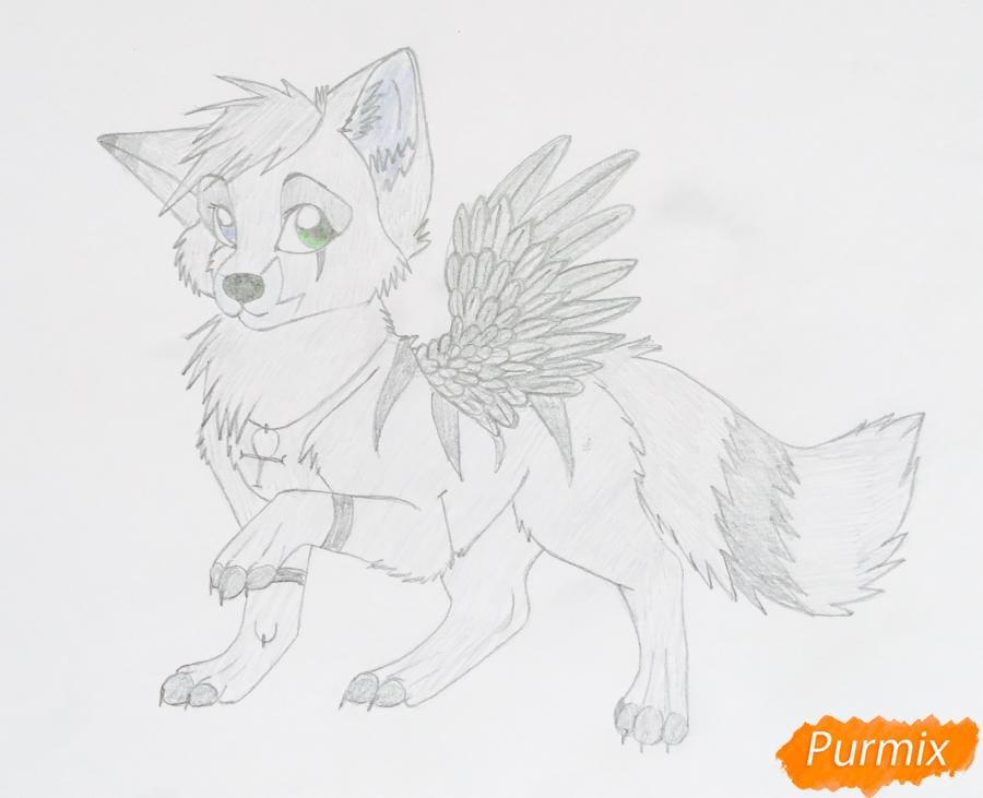 Рисуем серо голубого волчонка с крыльями - шаг 10