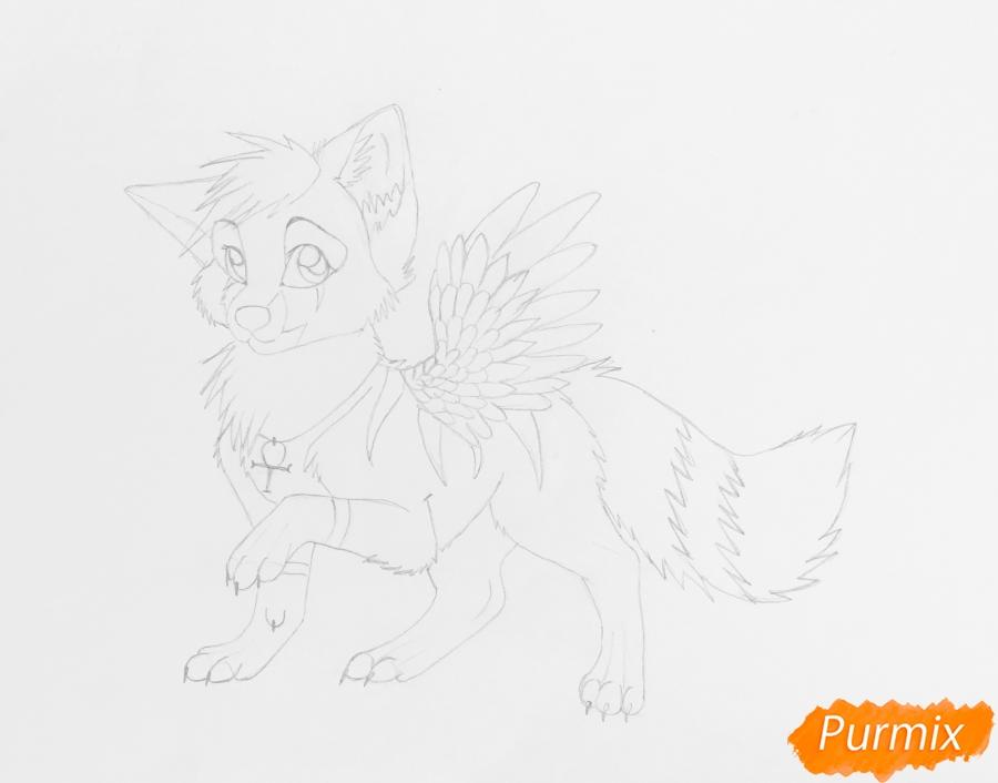 Рисуем серо голубого волчонка с крыльями - шаг 7