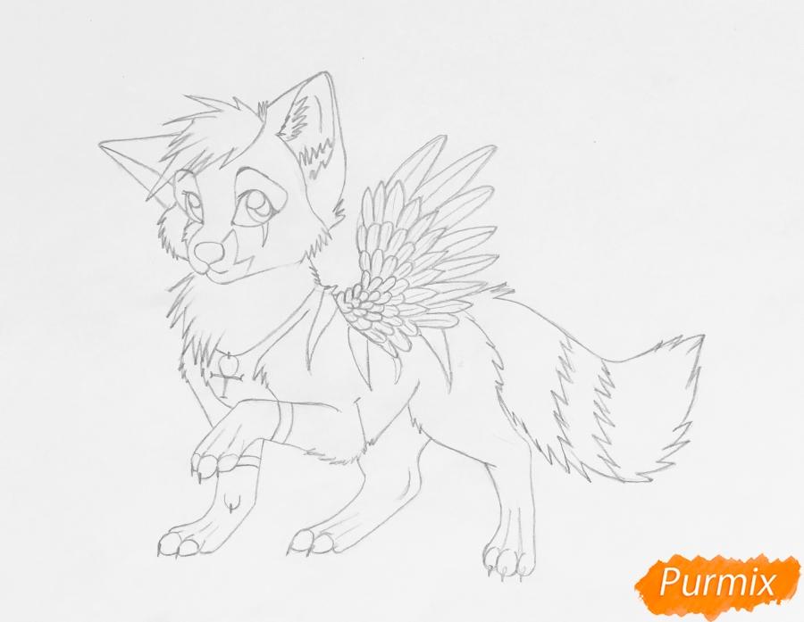 Рисуем серо голубого волчонка с крыльями - шаг 8