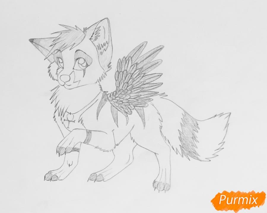Рисуем серо голубого волчонка с крыльями - шаг 9