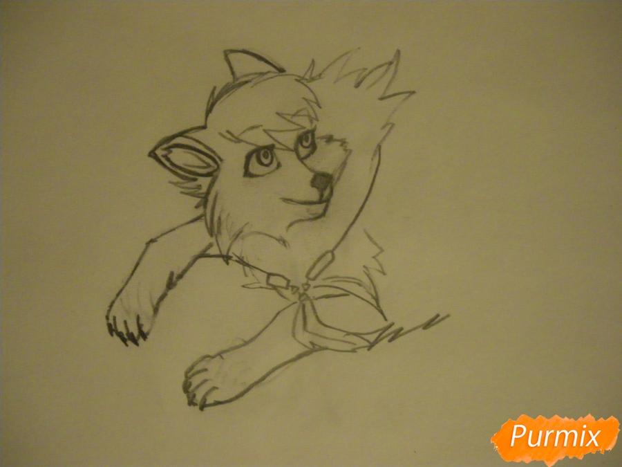 Рисуем серую аниме волчицу - шаг 3