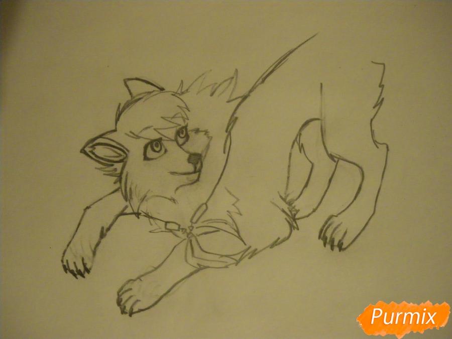 Рисуем серую аниме волчицу - шаг 5
