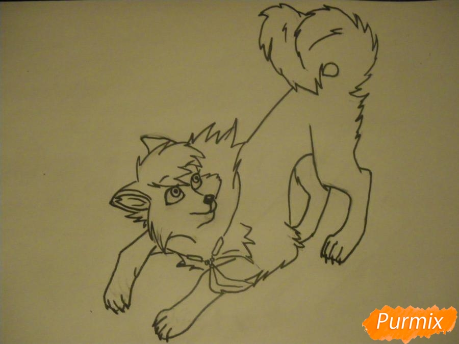 Рисуем серую аниме волчицу - шаг 7