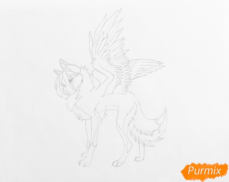 Рисуем серую аниме волчицу с крыльями - шаг 5